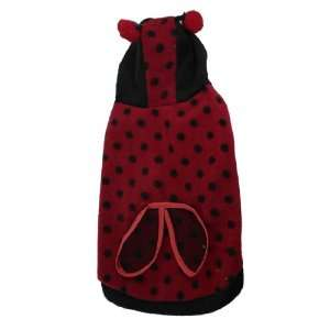 Dots Bee Design Fleece Hooded Shirt Red Black Size 16