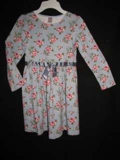 Gymboree La Belle Epoque Blue Pink Rose Knit Winter Bow Dress 9