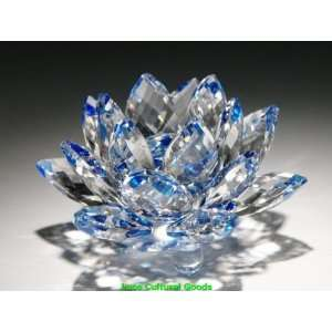 Luos Beautiful Blue/Clear Crystal Lotus Flower   3