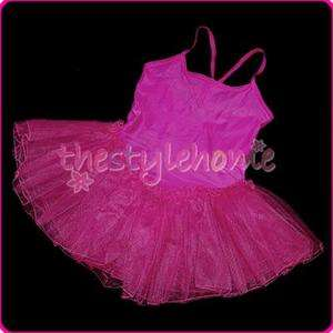 Fairy Party Leotard Ballet Costume Tutu Dress Skirt 4 5T Shocking Pink