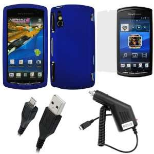 Blue ) + Clear LCD Screen Protector Film Guard + Micro USB Rapid Car