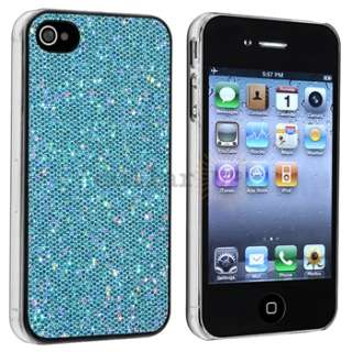 Blue Bling Hard Case Cover+Privacy Film Accessory For Apple iPhone 4