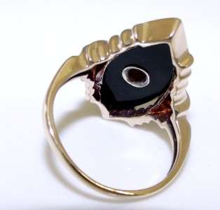 VINTAGE 1940S 10KT YELLOW GOLD BLACK ONYX & DIAMOND RING