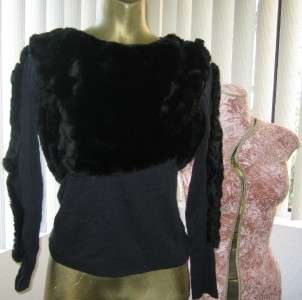 DRESS UP Costume Black Faux FUR Covered Long Sleeve TOP