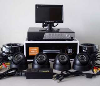 4CH CCTV Surveillance H.264 DVR+4 Dome Cams+7 TFT LCD Monitor
