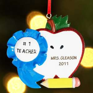 Ornament, Personalized Apple Ornament, Personalized Gift for Teacher
