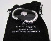 New Swarovski Crystal Elegant Black PILL BOX Case Oval