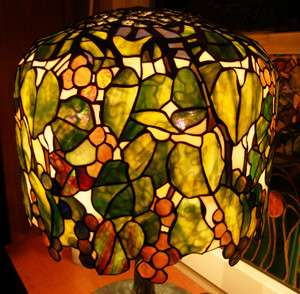 Tiffany Reproduction Stained Art Glass Lamp Shade Grapes & Leaves 18