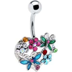 Heart Flower Butterfly Belly Ring Jewelry