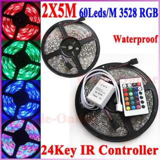 10M 60Leds/M 3528 RGB Waterproof Flexible Strip Light+24Key IR Remote