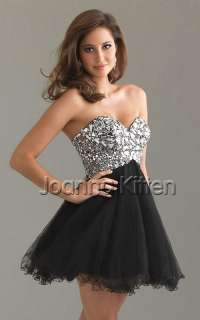 Stunning Shiny Womens Sexy Beaded Evening Gown short Formal Prom Dress