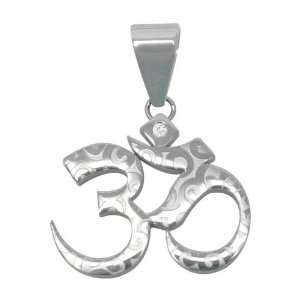 Inox Jewelry 316 Stainless Steel Foiled cz Ohm Pendant