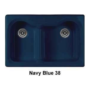 Bowl Kitchen Sink Finish Navy Blue, Faucet Drillings Single Hole