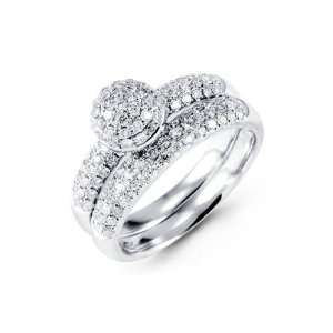 18K White Gold Round Diamond Engagement Wedding Ring
