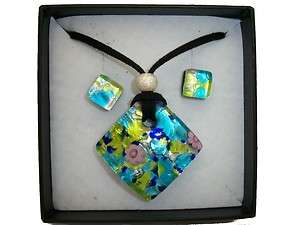 BLUE AUTHENTIC VENETIAN MURANO GLASS NECKLACE EARRINGS JEWELRY SET 2MG