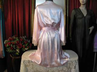 Pink Polysatin POLKA DOT Wrap Peignoir Robe w/ SASH BELT 4 Nightgown