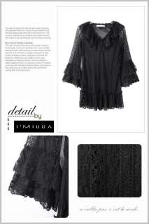 Women Layer Lace Bell Sleeve Frill Long Top Mini Dresses