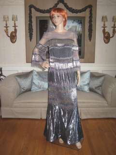 Custom Pewter Metallic BEADS BALL GOWN CAROLINA HERRERA DESIGN