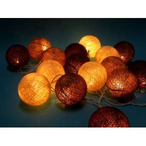 Chocolate Tone Mix Cotton Ball Patio Party String Lights