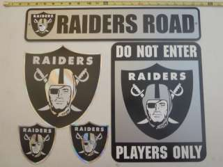 Oakland Raiders NFL Stickers & Street Signs Lot Rare