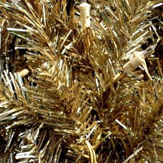 PRE LIT GOLD ARTIFICIAL CHRISTMAS TREE / 20 CLEAR LIGHTS / 2 FT