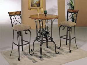 Black Metal/Cherry 3 pc Pub Table Set