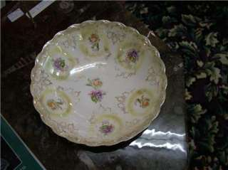Antique Hand Painted Bowl Floral Design Gilded