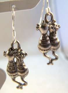 Cute & Cuddling Pewter Cat Charm Silver Dangle Earrings