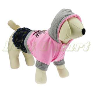 Pink Pet Dog lovely Heart Apparel Clothes Costume Jeans Dress Skirt
