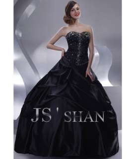 JSSHAN Black Bead Party Formal Ball Gown Evening Dress