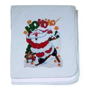 Baby Blanket Sky Blue Merry Christmas Santa Claus Skiing