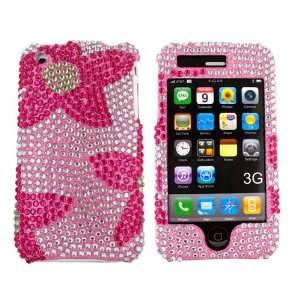 For iPhone 3G 3G s Bling Hard Case Hot Pink Flower Gems Electronics
