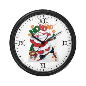 Clock Merry Christmas Santa Claus Skiing Ho Ho Ho
