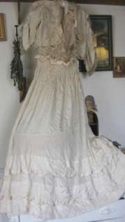 Antique Edwardian Flapper Wedding gown +Dress Jacket PRINCESS LACE
