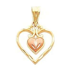 14K Two Tone Gold Diamond Cut Double Heart Pendant Jewelry