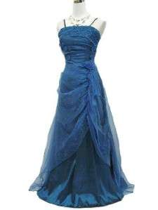 NWT Cherlone Blue Satin Beaded MOB/ Formal Evening Gown B2908