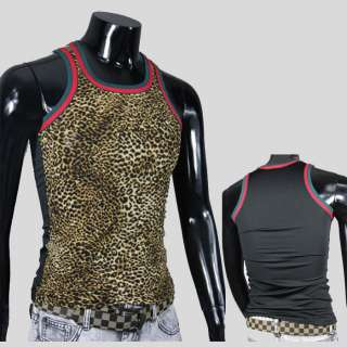 V4 High Quality Mens Sexy Shirts Vest Tank Tops Leopard