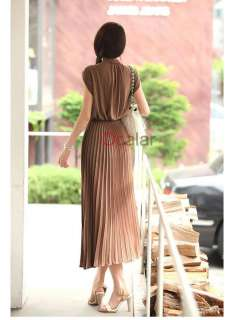 2012 Fashion Women Round Neck Boho Chiffon Maxi Long Dress Sleeveless