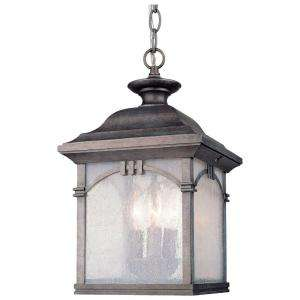 Hampton Bay Hanging Outdoor Antique Silver Lantern HD313103 at The