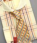 by Steven Land Spread Collar French Cuffs Cotton Plaid DS955tan