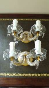 SUPERB PAIR OF ART DECO GILT & CUT GLASS TWIN LIGHT WALL SCONCES