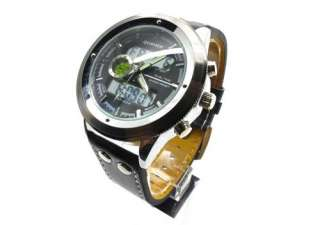 Mens black leather strap army Military captain Pilot sports wrist