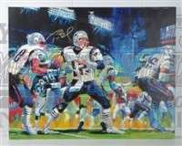 Tom Brady New England Patriots signed canvas art SB 38