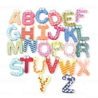 US$ 7.79   Wooden Alphabet Fridge Magnets Sticker Educational Toy