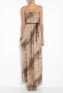 Tibi  Strapless Lurex Leopard Print Maxi Dress by Tibi