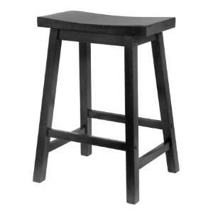 Black 24 Inch Saddle Seat Stool   Winsome 20084 Furniture