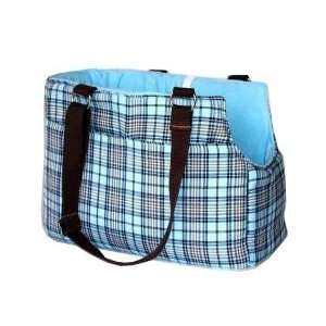 Classic Blue & Brown Plaid Pet Carrier  Size STANDARD