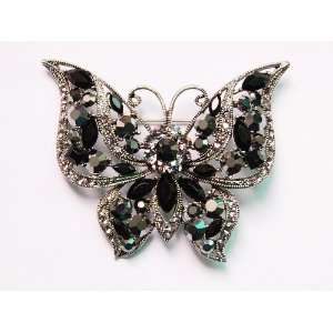 Ice Black Crystal Rhinestone Filigree Detailed Butterfly Pin Brooch