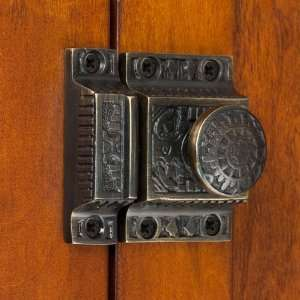 Solid Brass Cabinet Latch with Windsor Knob   Antique