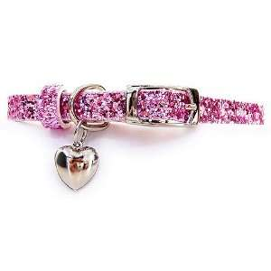 SO STUNNING Sequins Dog Cat Pet Collar Pink Small